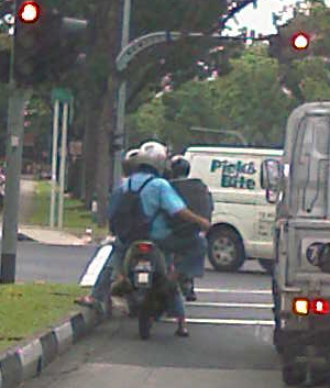 pillion riding with a tv